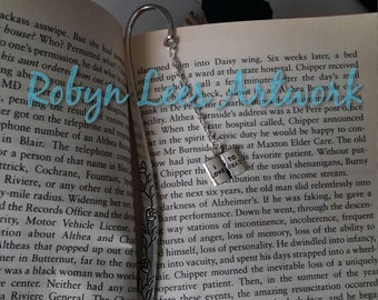 I Love To Read Silver Bookmark with Flowers, Metal Book Mark
