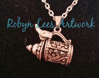 Opening Silver 3D German Beerstein Beer Mug Necklace with Moveable Charm on Silver Chain or Black Faux Suede Cord