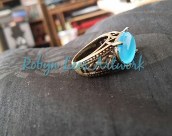 Celtic Bronze Filigree Ring with Synthetic Blue Cats Eye Stone, Approx. UK P, US 7 1/2