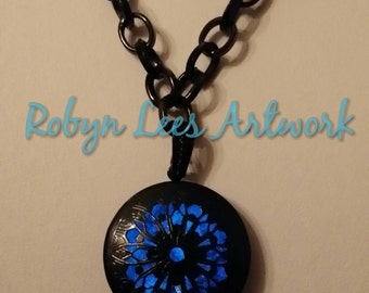 Black Plated Blue Glow In The Dark Necklace with Round Filigree Black Locket and O Ring Chain