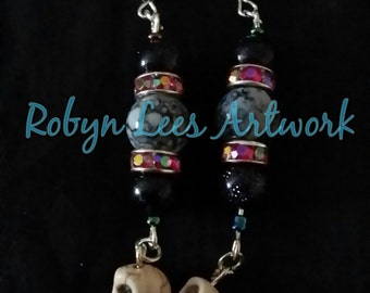 Beaded Silver Earrings with Turquoise Cream Skull Beads, Crystal Beads, Sparkly Galaxy Beads & Veined Beads