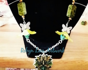 Green Man Greenman Nature Themed Necklace with Skulls, Flowers, Butterflies, Beads and Leaves