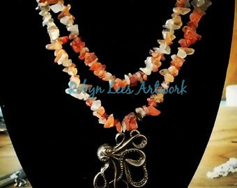 Bronze Octopus Carnelian Crystal Chip Bead Double Layer Necklace