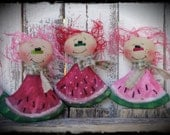 Watermelon Gals, Primitive Rag Doll Folk Art, Raggedy, Summer Decor, Shelf Tuck, Bowl Filler, OFG FAAP