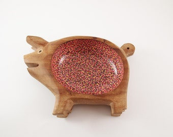 Hand Painted Polka Dots - Wood Bowl - Ring Holder Dish - Pig Bowl - Pink, Orange, Yellow, Taupe - Mid Century Modern Wooden Piglet