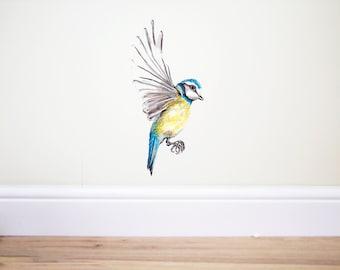 Blue tit,Blue tit wall decal,Bird wall Decal,blue tit sticker,bird sticker,woodland nursery,nature decal,winter birds,handpainted bird,birds