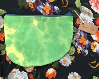 Green Zipper Pouch//Hand-Dyed