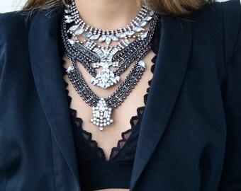 SALE - Statement Crystal Boho Necklace - Bohemian jewelry - Bib Rhinestone Collar