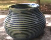 Small Clay Pot  //  Indigo Blue  //  Williamsburg   //  Handmade  // Flower Vase  //  Shelf Decor
