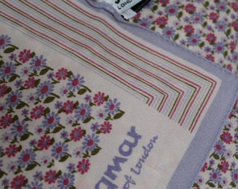 Vintage scarf 1950s Jacqmar of london, pink, lilac, green
