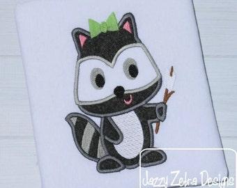 Raccoon Girl with Marshmallow Appliqué embroidery Design - raccoon Appliqué Design - girl Appliqué Design - camping Appliqué Design
