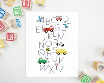DIGITAL Transportation Car Truck Alphabet Nursery Print, Little Boy Nursery Decor, Train Nursery Wall Art, Car Nursery Decor - ANY SIZE