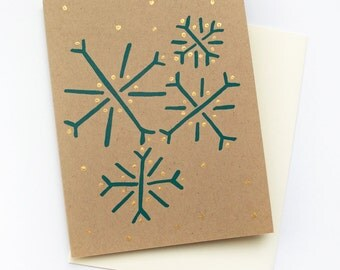 Holiday Greeting Card, Snowflake Greeting Card, Christmas Card, Holiday Stationary, Hanukkah Card, Item #022