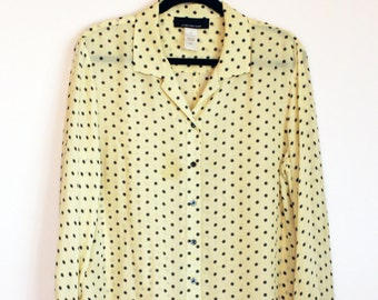 80s | Dotted Black & White Button Down L/S