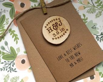 Personalised Log Slice Wedding Card
