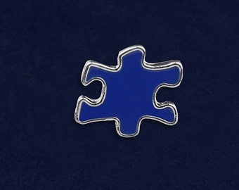 25 Autism Blue Puzzle Piece Pins (25 Pins) (P-23-2)