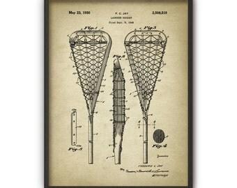 Lacrosse Stick Patent Print #1 - 1950 Lacrosse Design - Crosse - Lacrosse Wall Art - Lacrosse Racket - Lacrosse Racquet - Lacrosse Player