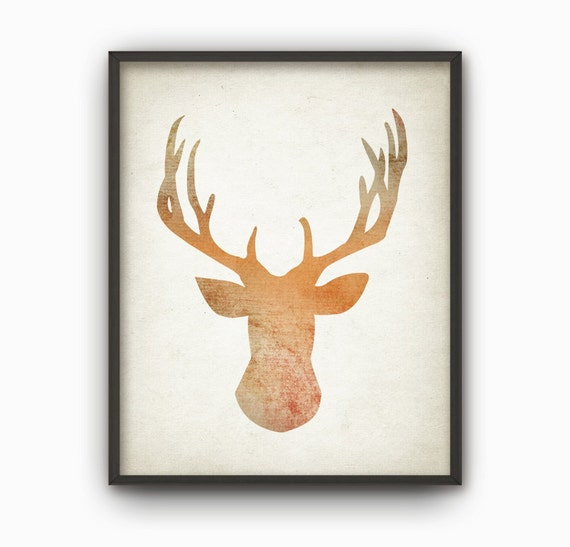 deer wall art print wood hunting lodge decor home decor art