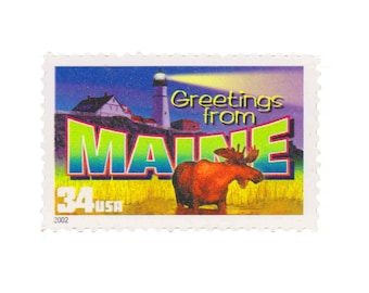 5 Unused US Postage Stamps - 2002 34c Greetings from Maine - Item No. 3579