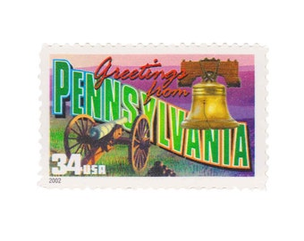 5 Unused US Postage Stamps - 2002 34c Greetings from  Pennsylvania - Item No. 3598