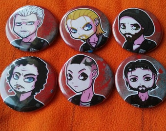 Sons of Anarchy 6 piece button set - Jax, Opie, Tig, Chibs, Juice, and Clay