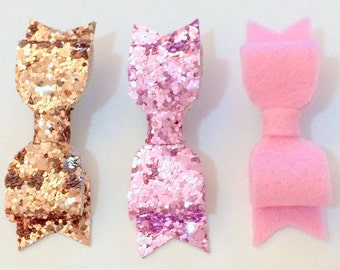 Set of 3 Mini Glitter and Felt Bow Clips - Champagne & Pink Glitter Blush 100% Wool Felt Hair Bow Clips Infant Clips Toddler Bow Clips