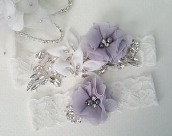 Off White Ivory Beaded Lace Wedding Garter Set , Ivory Lace Garter Set, Toss Garter, Bridesmaid Gift, Prom, Wedding Gift-Style 760