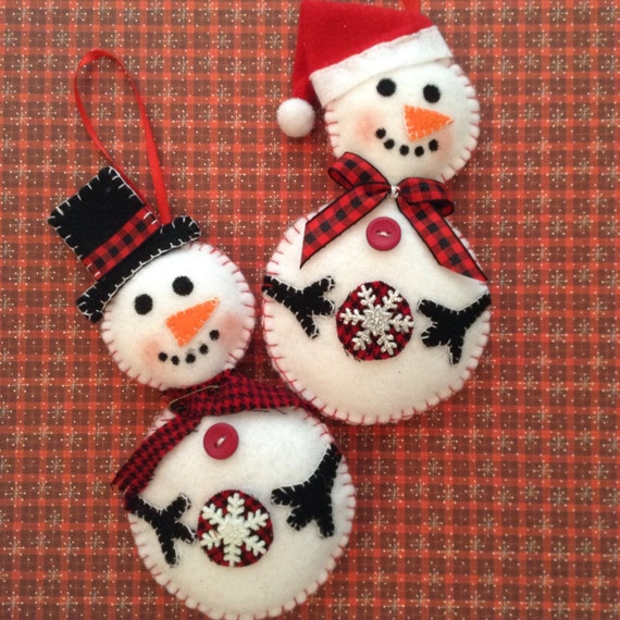 Cool Snowman Decoration Ornaments For Christmas Tree: Snowman Ornaments / Christmas Felt Snowman Ornaments / Set Of