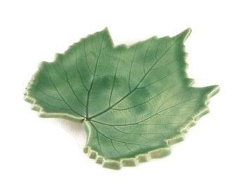 Grape Leaf dish - pottery - forest green - jewel green - ring dish - spoon rest - fall leaf - fall decor