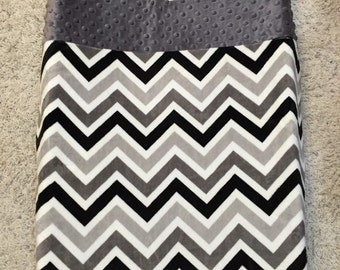 Monogrammed Changing Pad Cover, Gray and Black Chevron Minky Fitted Contoured Changing Pad Cover monogram or appliqué