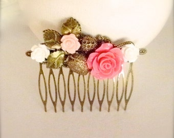Rose Strawberry Hair Comb, White & Pink Flower Hair Comb, Vintage Style Flower Hair Comb, Wedding, Bridesmaid, Gift for Her Rustic Hair Comb