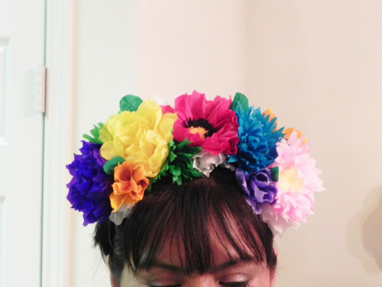 Mexican Crepe Paper Flower Headpiece Cinco De