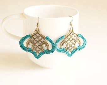 Teal Crochet Medallion Earrings