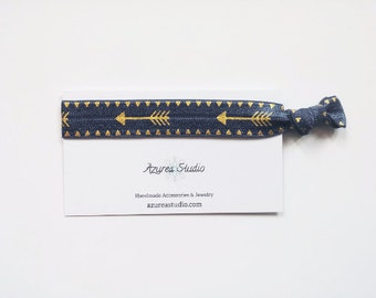 Navy Blue Gold Arrow Hair Tie