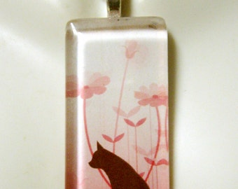 Brown silhouette cat with flowerspendant and chain - CGP02-108