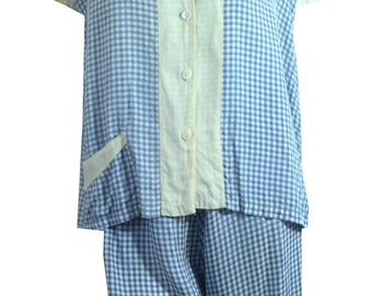vintage 1950s Blue and White Gingham Checked Rayon Pajama Set w/ Shorts 38