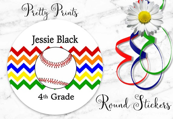 School Labels - Baseball Stickers - Personalized Stickers - Baseball - Chevron, Round Labels - Personalized Labels - Sports Stickers