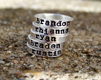 Stackable rings, Stacking rings, Stacker rings, Stackable name rings, (ONE) RING
