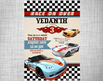 "Cars Invitation - Car Birthday Invitation - Hot Wheels Invitation - Digital Birthday Invitation -Hot Wheels Digital Car Invitation - 5""X7"""