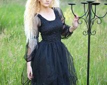 Adult Black Fairy   Dress ~ Halloween Costume ~ Medieval ~ Gothic ~ Steampunk
