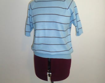 60s Striped Sweater Light Blue Mod Mens Size S, Women Size M L Acrylic Made in Korea