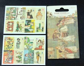 16 Mini Victorian/Edwardian Ladies and Children Postage Stamp Sticker Set