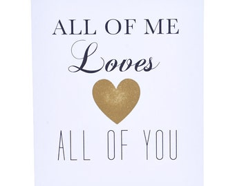 All of Me Loves All of You Card - I Love You Card - Anniversary Card - Greeting Card - Wedding Card