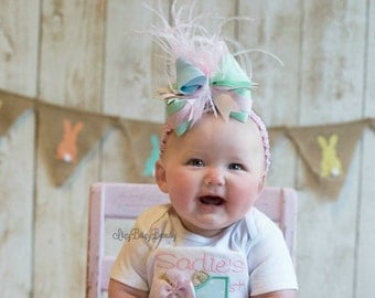 Girls OTT Hair bow headband clip easter pastel color polkadots mint blue green pink feathers