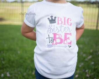 Big sister to be embroidered girls shirt ANY COLOR