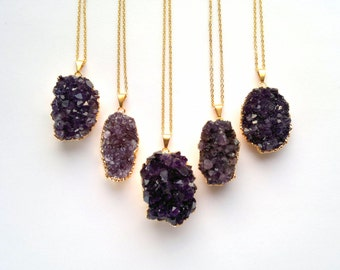 Amethyst Druzy Necklace Druzy Pendant Amethyst Necklace Geometric Necklace Druzy Jewelry Amethyst Jewelry Purple Stone Necklace February