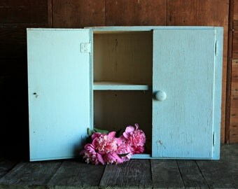Vintage Blue Cabinet, Wood Wall Cabinet, Primitive Cabinet, Kitchen Cabinet, Antique Wall Cupboard, Laundry Cabinet, Bathroom Cabinet