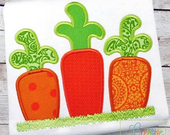 Easter Carrot Applique Machine Embroidery  Design 4 Sizes