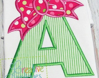 A Bow Letter A Applique Machine Embroidery Design 4 Sizes, bow applique, applique bow, bow alphabet, bow letters