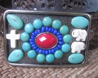 beaded belt buckle Southwestern turquoise belt buckle cross belt buckle elephant jewelry Boho navajo  belt buckle mens belt Buckle  women's